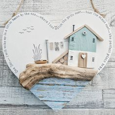Driftwood Art Wall Hanging Driftwood House Coastal One Day Driftwood Sails Poetry Word Art Beach House Unique Gift Heart Art Herzen Diy Craft Projects, Wood Projects, Diy And Crafts, Driftwood Crafts, Wooden Crafts, Driftwood Wall Art, House By The Sea, House In The Woods, Cool Coasters