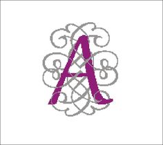 Monogram A cross stitch pattern bead weaving loom by evascreation