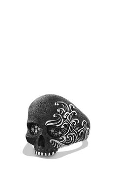 David Yurman 'Waves' Large Skull Ring with Black Diamonds available at #Nordstrom