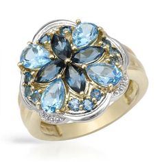 Majestic Ring With 3.72ct TW Genuine Topazes Beautifully Crafted in 14K/925 Gold plated Silver. Total item weight: 5.7g