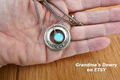 Sterling Silver  Blue Opal Pendant with heavy Silver Chain,  Silver  Blue Opal Necklace, Vintage jewelry by GrandmasDowry on Etsy