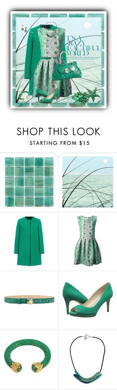 """""""Mint & White set w. Ermanno Scervino Snakeskin Print Dress"""" by franceseattle ❤ liked on Polyvore featuring Zara, Ermanno Scervino, Angelo Marani, GUESS, Nine West, Latelita and Robert Lee Morris"""