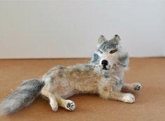 Dollhouse Miniature Wolf OOAK by malinikminiatures on Etsy, $75.00