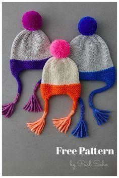 Merry Ear Flap Hat Free Knitting Pattern Baby Boy Knitting Patterns Free, Baby Sweater Knitting Pattern, Baby Hats Knitting, Free Knitting, Knitted Hat Patterns, Crocheting Patterns, Beanie Pattern, Knitting Machine, Knitted Hats Kids