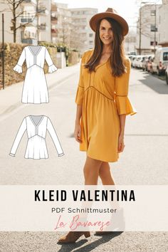 Bohokleid and blouse valentina sewing. Step-by-step instructions incl. Video tutorials for the trickier steps. Two sleeve variants. Sporty Outfits, Casual Summer Outfits, Dresses Short, Summer Dresses, I Cord, Boho Dress, Diy Clothes, Shirt Dress, Sew Dress