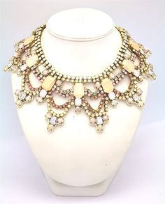 Doloris Petunia One of a Kind Custom Necklace (Bridal Peony Necklace with Swarovski Crystals)