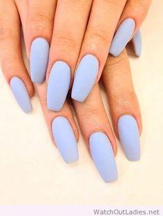 Long beautiful pastel blue nails
