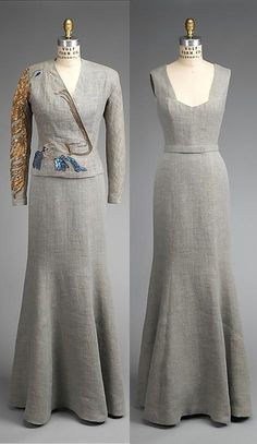 Cocteau Jacket Ensemble, fall designed by Elsa Schiaparelli (Italian, made by House of Lesage (French, founded Jacket artist: Jean Cocteau (French, もっと見る Elsa Schiaparelli, 1930s Fashion, Retro Fashion, Vintage Fashion, Vintage Gowns, Vintage Outfits, 20th Century Fashion, Italian Fashion Designers, Lesage