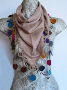 Hey, I found this really awesome Etsy listing at https://www.etsy.com/listing/89355584/colorful-leather-circle-pashmina-scarf