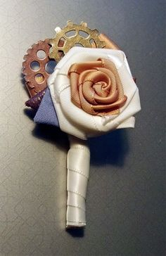 Steampunk Wedding Boutonniere CUSTOM to your by LiverandMonk, $15.00