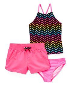 Take a look at this Freestyle Revolution Pink Bright Chevron Tankini Set today!