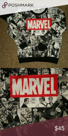 NEW RARE MARVEL SWEATSHIRT!!! RARE Marvel Comic silky sweatshirt. Came without tags but is brand new. Marvel Tops