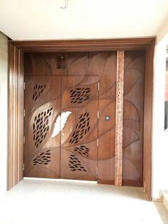 Wooden Main Door Design, Door Gate Design, Bedroom Door Design, Door Design Interior, Interior Design Photos, Glass Partition Designs, Big Doors, Flush Doors, 3d Cnc