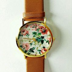 Brown camel flower watch from www.gogolush.com