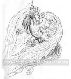 Whitefire_Phoenix_sketch_by_rachaelm5.jpg (837×935). Love this Phoenix body and head, may be the one I spin my design from.