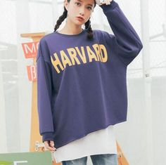 Harvard long sweatshirt dress for teenage girls casual fake two piece top