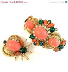 Juliana D&E High Domed Clamper Bracelet and Bug Brooch $391.00