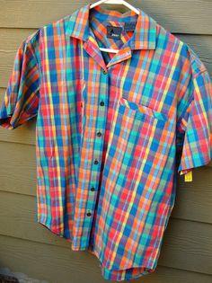 Vintage 80s Liz Claiborne Pastel Madras Plaid Oversize Shirt by MaidenhairVintage, $24.00