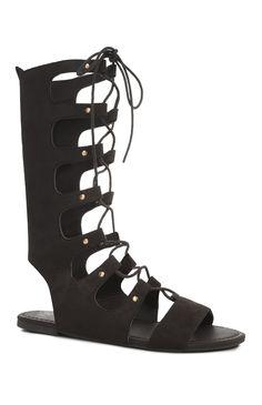 Black High Leg Ghillie Sandal