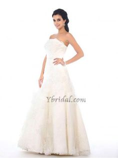 CLICK IMAGE TWICE FOR PRICING AND INFO:) #women #womendresses #eveninggown #cocktaildress #wedding #weddinggown #eveningdresses #prom #debut #partydress #bridesmaid SEE MORE strapless womens dresses at http://www.zbrands.com/Strapless-Womens-Dresses-C60 Elegant Ball Gown Strapless Satin and Lace Floor-Length Wedding Dress WBG08400-L