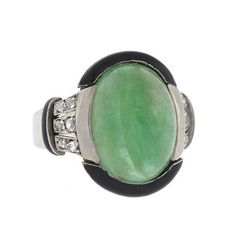 A. Brandt + Son - Art Deco 18kt Diamond Enamel & Emerald Cabochon Ring