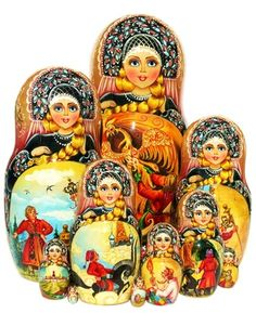 Konyok Gorbunok and firebird Russian fairytale scenes painted on exclusive 10 piece nesting doll. One-of-a-kind masterpiece. Free shipping on US orders.