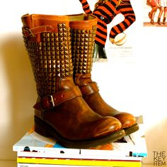 amazing color. studded boots.