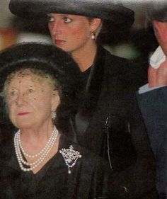 Funeral of Diana's grandmother & The Queen Mum's friend & Lady in Waiting- Ruth, Lady Fermoy 1993.