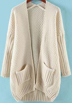 Apricot Long Sleeve Pockets Loose Knit Cardigan 33.99
