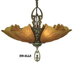 Vintage Hardware & Lighting - Art Deco Chandeliers Fixtures Slip Shade Medieval Family 5 Light Chandelier (279-5LL1)