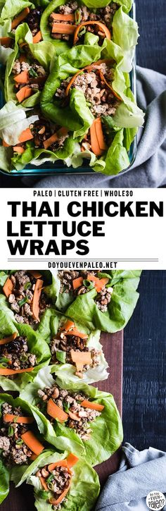 Thai chicken lettuce wraps make an epic healthy lunch idea! With fresh veggies and toasted cashews as toppings, this is one healthy paleo recipe you don't want to pass up. A low carb recipe. Paleo Chicken Recipes, Paleo Recipes, Asian Recipes, Whole Food Recipes, Ethnic Recipes, Thai Chicken Lettuce Wraps, Recetas Whole30, Salat Wraps, Whole Foods