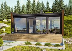 The compact yet airy design of Kontio Glass House cabin 30 can be easily configured as a sauna, a relaxing cabin or a small guest house. Design Sauna, Cabin Design, Backyard Guest Houses, Backyard Pavilion, Sauna House, Guest House Plans, Glass House Design, Glass Cabin, Garden Cabins
