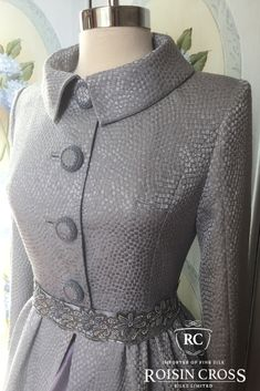 Lilac Tesserae Silk with Beaded Buttons and Beaded Belt Dress Coat made at Roisin Cross Silks Dublin Coat Dress, Belted Dress, Groom Dress, Design Consultant, Dressmaking, Dublin, Mother Of The Bride, Lilac, High Neck Dress