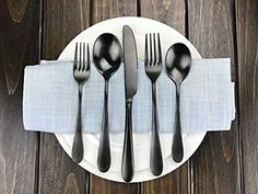 Flatware Set AOOSY 20-Piece Set Matte Black Pated Stainless Dinnerware set $88.26 on eBay