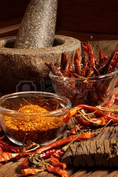 Make dry chilli to cayenne by mortar red hot color tone Stock Photo Dried Chillies, Red Chilli, Cinnamon Sticks, I Foods, Spice Things Up, New Recipes, Pantry, Food Photography, Ss