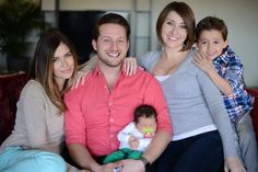 Jane Shalakhova, 25, left, Adam Lyons, 34, centre, and Brooke Shedd, 26, right, with Brooke's son Oliver, right, and Brooke and Adam's baby son Dante at their home where they live together as a 'throuple' in Los Angeles, USA.