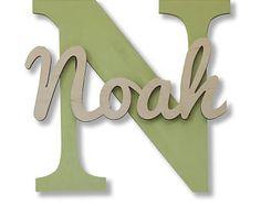 Hölzerne Buchstaben, Baby-Kinderzimmer-Wand-hängende Buchstaben im Skript-Schriftart, Baby-Namensschild, Kinderzimmer-Dekor, hölzerne