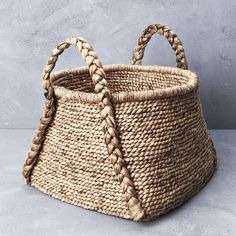 Waterhyacinth Rounded Square Basket with Plaited Handles from INARTISAN