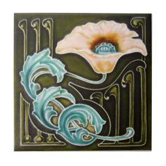 AN124 Art Nouveau Reproduction Antique Tile