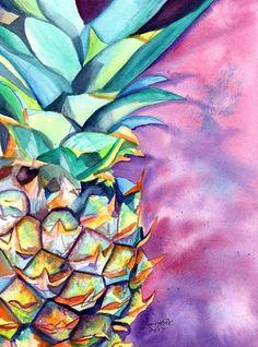 pineapple original watercolor painting from kauai hawaii