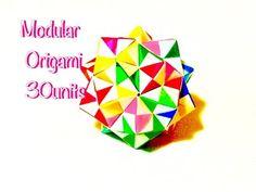 折り紙 くす玉 30枚   Modular Origami 30units - YouTube