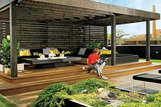 Love the modern pergola!                                                                                                                                                     More