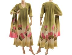 Boho hand dyed maxi dress with scarf summer party von classydress