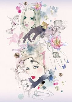 Nadia Flower fashion illustrations