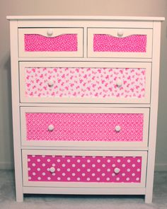 Fabric dresser makeover I might try attempt this sometime this year! Furniture Projects, Kids Furniture, Furniture Making, Home Projects, Furniture Design, Urban Furniture, Street Furniture, Furniture Logo, Deco Furniture