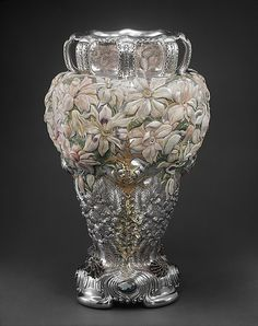 artmastered:  Tiffany & Co., The Magnolia Vase, c.1893, silver, gold, enamel, opals, 78.4 x 49.5 cm, The Metropolitan Museum of Art, New...