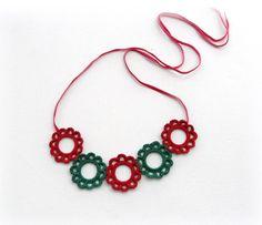 Crochet Necklace - Crochet Bib Neckace - Statement Necklace - Circle Necklace - Crochet Flowers Necklace