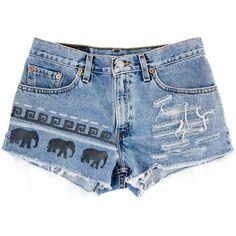 Tribal/Aztec Elephant Shorts, Hand Painted, Vintage ...
