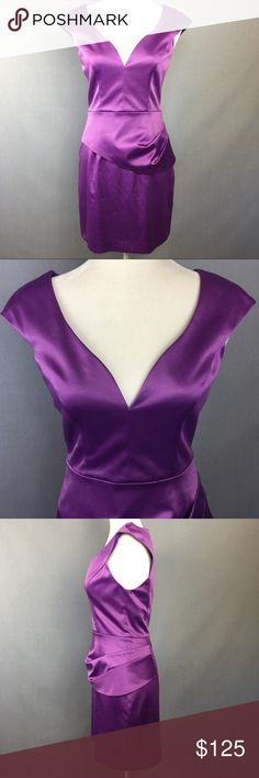"""NWT Black Halo Dame Mini sheath lavender purple New with tags Black Halo Dame Mini sheath dress in lavender purple. Fully lined, pleated peplum waist with back zipper closure. Luxurious material and perfect figure flattering cut. Excellent condition. As seen on Alicia Silverstone above in Clueless reunion picture. Perfect for a wedding or cocktail party. Size 6 but would fit smaller since it's higher end. See measurements.  Approximate measurements: 🌹Bust: 32.5"""" 🌹Waist: 28"""" 🌹Hips: 36""""…"""