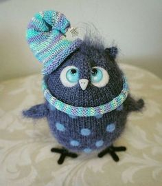 Funny knitted bird